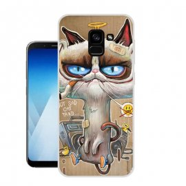 Funda Samsung Galaxy A8 Plus 2018 Gel Dibujo Gato Cool