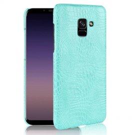 Carcasa Samsung Galaxy A8 Plus 2018 Cuero Estilo Croco Turquesa