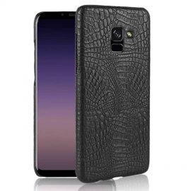 Carcasa Samsung Galaxy A8 Plus 2018 Cuero Estilo Croco Negra