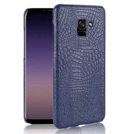 Carcasa Samsung Galaxy A8 Plus 2018 Cuero Estilo Croco Azul