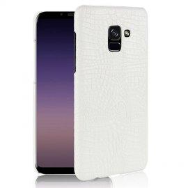 Carcasa Samsung Galaxy A8 Plus 2018 Cuero Estilo Croco Blanca
