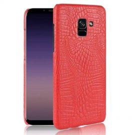 Carcasa Samsung Galaxy A8 Plus 2018 Cuero Estilo Croco Rojo