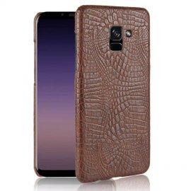 Carcasa Samsung Galaxy A8 Plus 2018 Cuero Estilo Croco Marron
