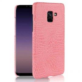 Carcasa Samsung Galaxy A8 Plus 2018 Cuero Estilo Croco Rosa