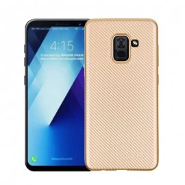 Funda Samsung Galaxy A8 Plus 2018 Gel Carbono Dorada