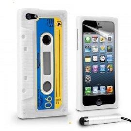 Funda IPhone 5S Silicona Cassette Blanca y Stylus