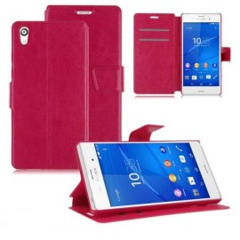 Funda Sony Xperia Z5 Cuero Soporte Rosa