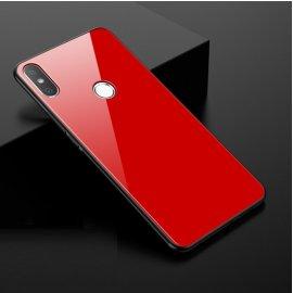 Funda Xiaomi MI 8 Silicone con trasera Cristal Templado Roja