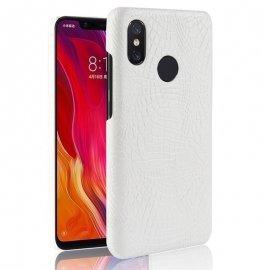 Carcasa Xiaomi MI 8 Cuero Estilo Croco Blanca