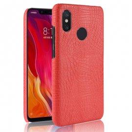 Carcasa Xiaomi MI 8 Cuero Estilo Croco Roja