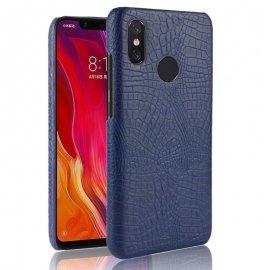 Carcasa Xiaomi MI 8 Cuero Estilo Croco Azul
