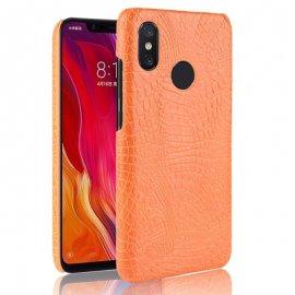 Carcasa Xiaomi MI 8 Cuero Estilo Croco Naranja