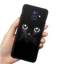 Funda Samsung Galaxy A6 2018 Gel Dibujo Gato Negro