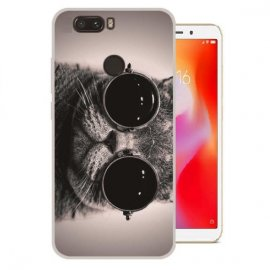 Funda Xiaomi Redmi 6 Gel Dibujo Gato con Gafas