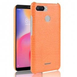 Carcasa Xiaomi Redmi 6 Cuero Estilo Croco Naranja