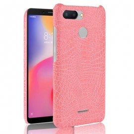 Carcasa Xiaomi Redmi 6 Cuero Estilo Croco Rosa