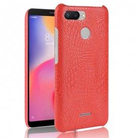 Carcasa Xiaomi Redmi 6 Cuero Estilo Croco Roja