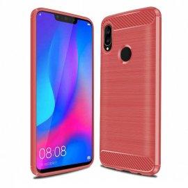 Funda Huawei P Smart Plus Gel Hybrida Cepillada Roja