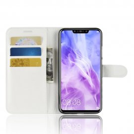Funda cuero Flip Huawei P Smart Plus Blanca