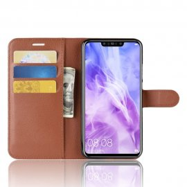 Funda cuero Flip Huawei P Smart Plus Marron