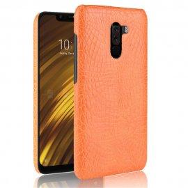 Carcasa Xiaomi Pocophone F1 Cuero Estilo Croco Naranja