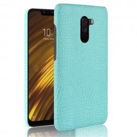 Carcasa Xiaomi Pocophone F1 Cuero Estilo Croco Turquesa