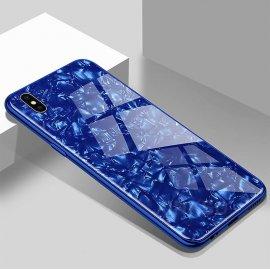 Funda 360 iPhone XS Marmol Templada Azul