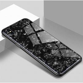 Funda 360 iPhone XS Marmol Templada Negra