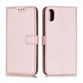 Funda cuero Flip iPhone XS Oro Rosado