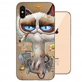 Funda iPhone XS Gel TPU Dibujo Gato Malo
