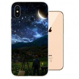 Funda iPhone XS Gel TPU Dibujo Noche