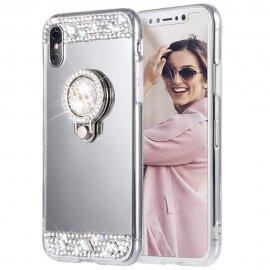 Carcasa iPhone XS Gris Diamantes Falsos