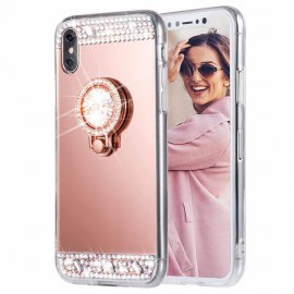 Carcasa iPhone XS Oro Rosa Diamantes Falsos