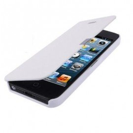 Funda Iphone 5 cuero Extra fina Blanca
