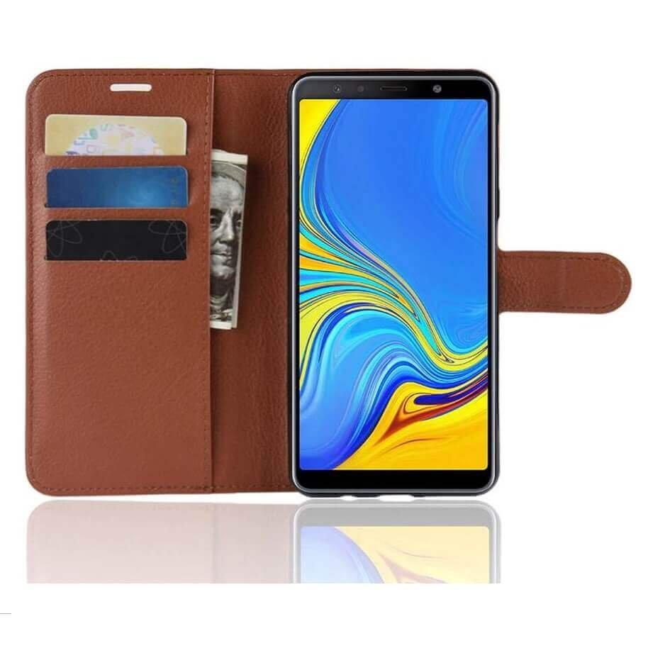 Funda Libro Samsung Galaxy A7 2018 Soporte Marron.