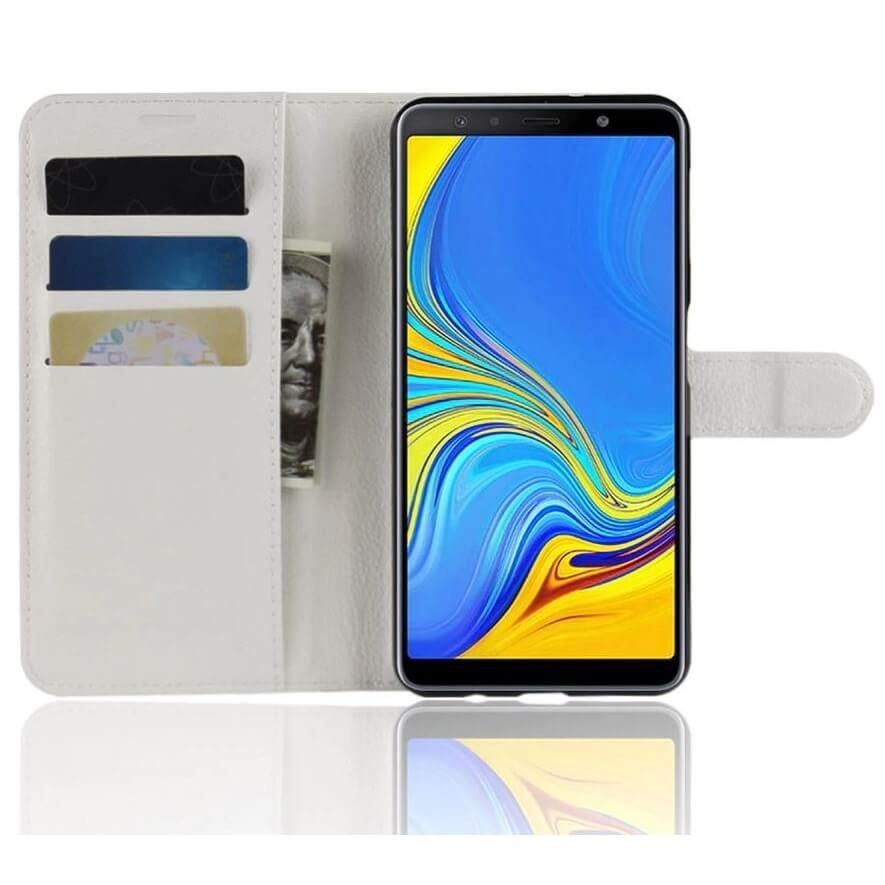Funda Libro Samsung Galaxy A7 2018 Soporte Blanca.