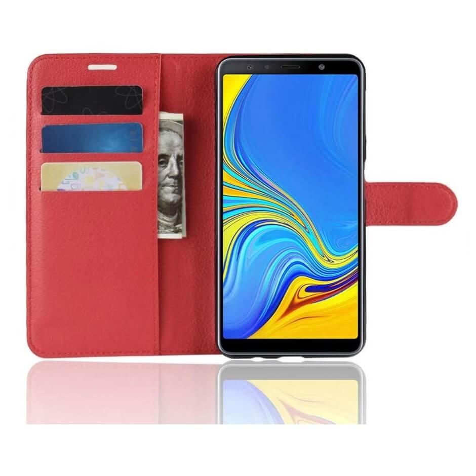 Funda Libro Samsung Galaxy A7 2018 Soporte Roja.