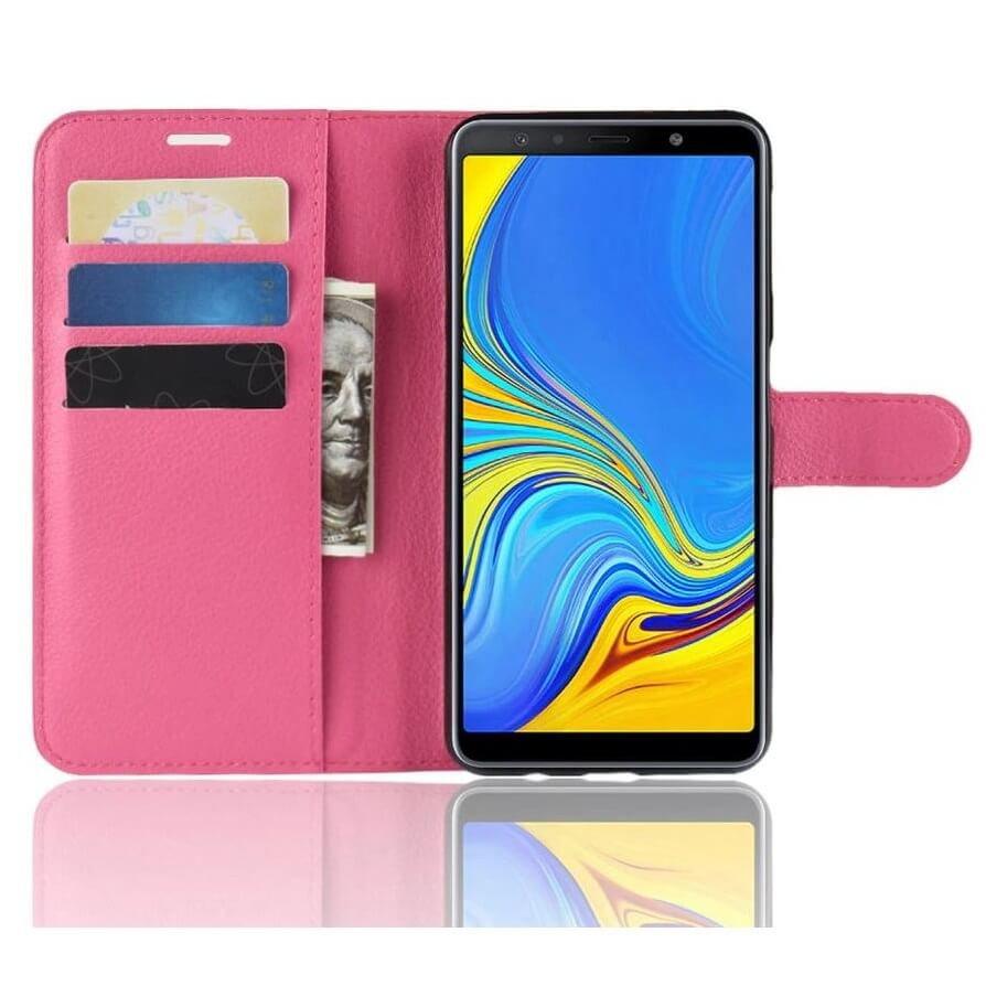 Funda Libro Samsung Galaxy A7 2018 Soporte Fucsia.