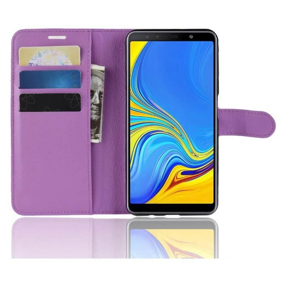 Funda Libro Samsung Galaxy A7 2018 Soporte Morada.