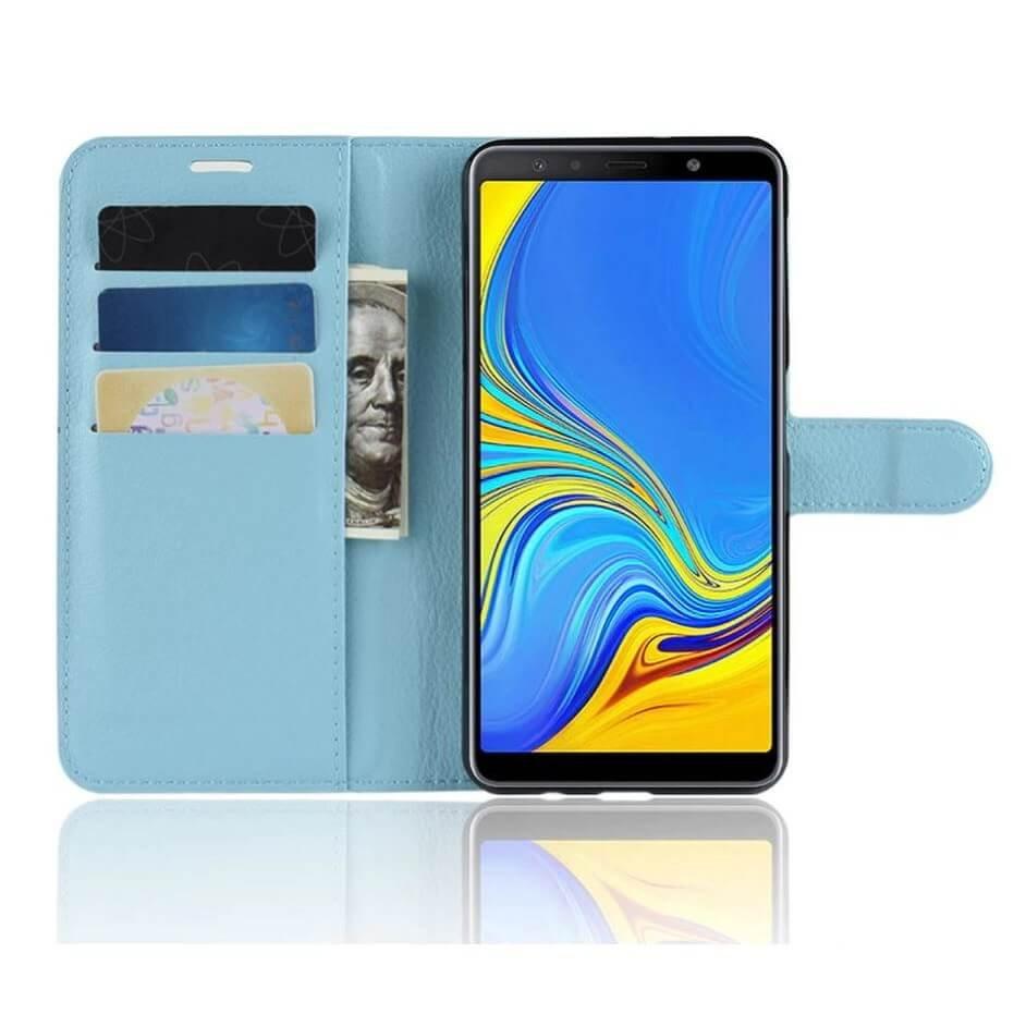 Funda Libro Samsung Galaxy A7 2018 Soporte Azul.