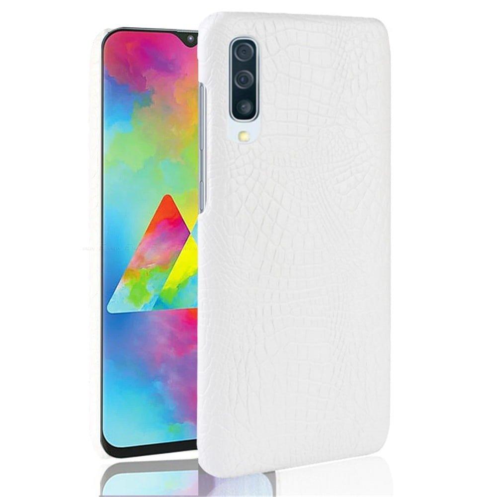 Carcasa Samsung Galaxy A70 Cuero Estilo Croco Blanco