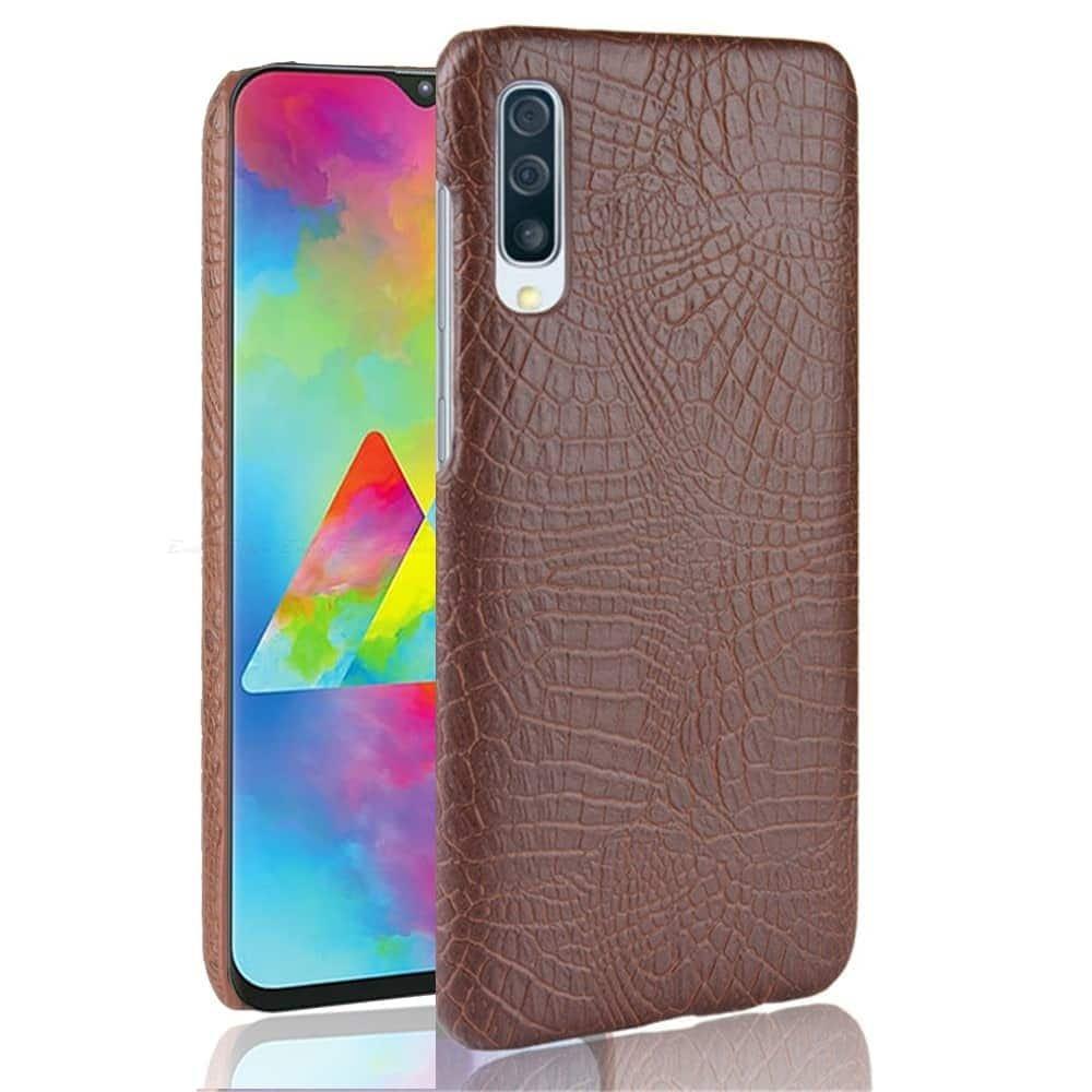 Carcasa Samsung Galaxy A70 Cuero Estilo Croco Marron