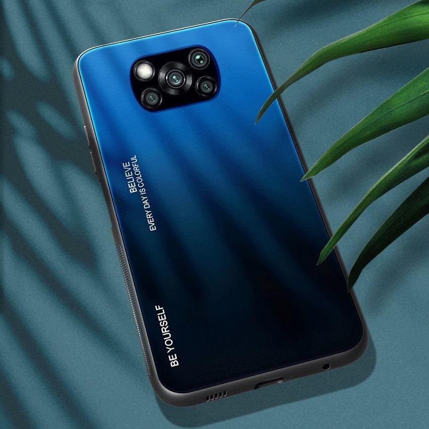 Funda Xiaomi Poco X3 Pro Silicona y cristal templado azul