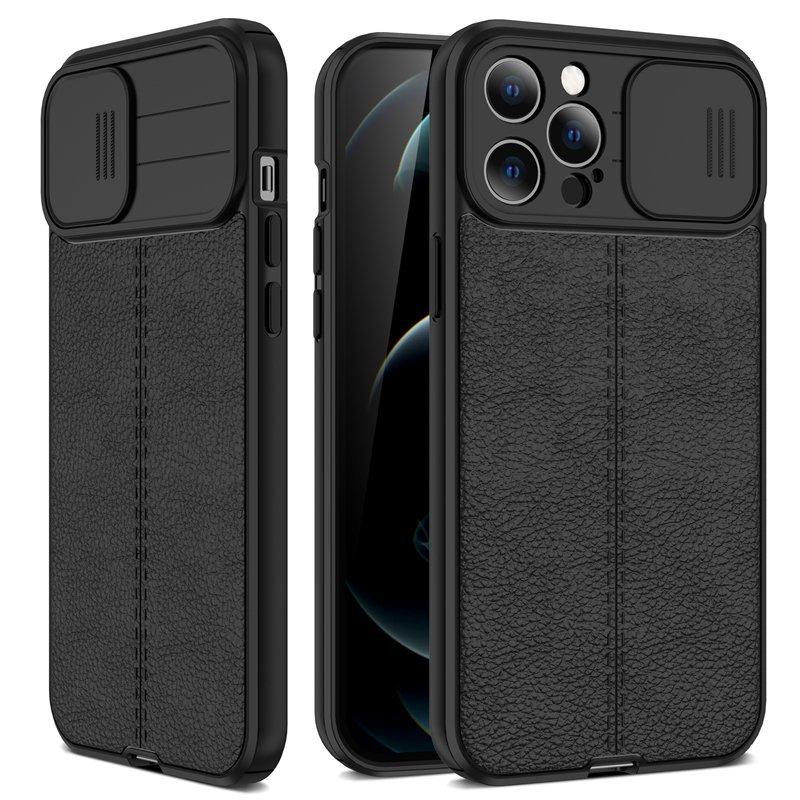 Funda iPhone 13 Pro o Pro Max Silicona cuero Negra