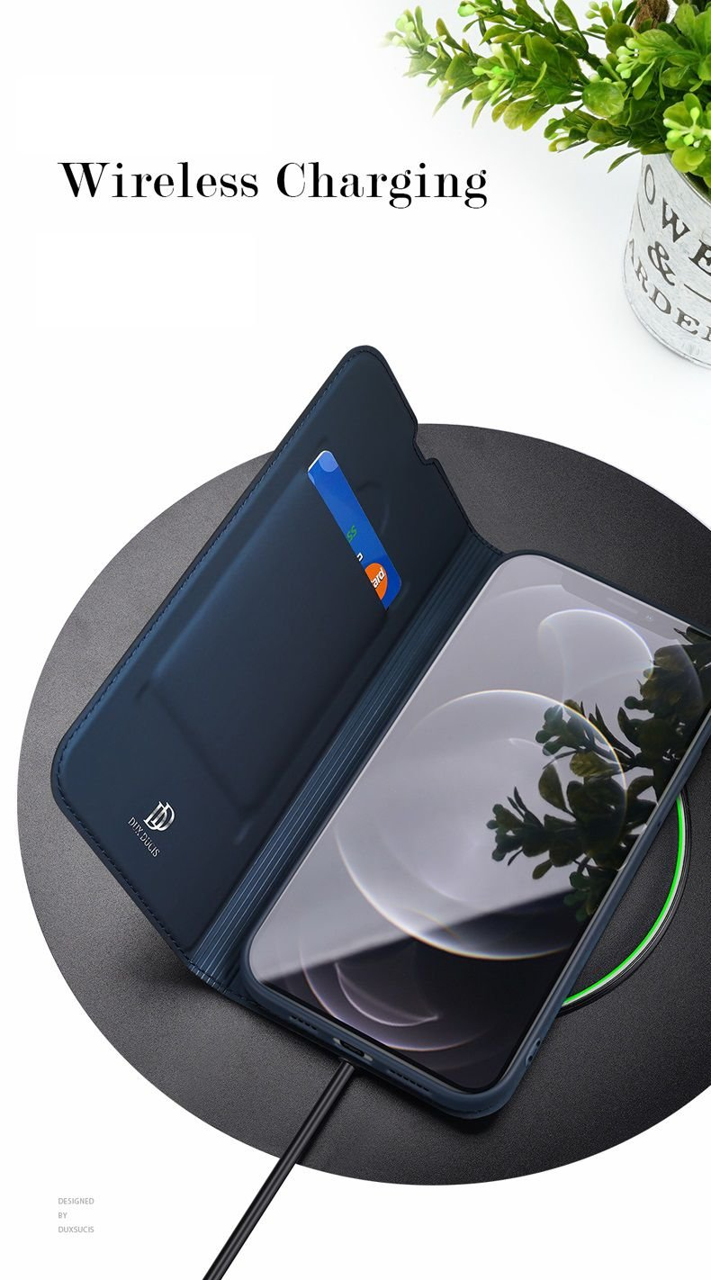 Estuche Cuero iPhone 13 Pro y Pro Max Libro Dux qi