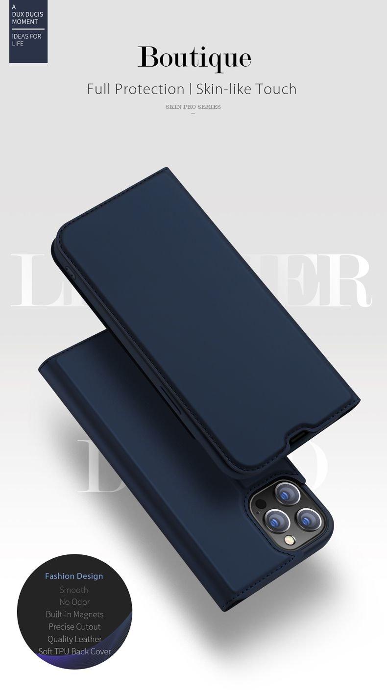 Estuche Cuero iPhone 13 Pro y Pro Max Libro Dux detalle
