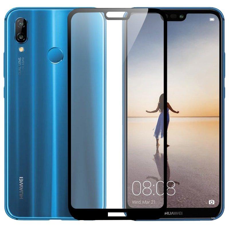 Protector Pantalla Cristal Templado Premium Huawei P20 Lite Negro Mas duro del Mundo (G Glass).
