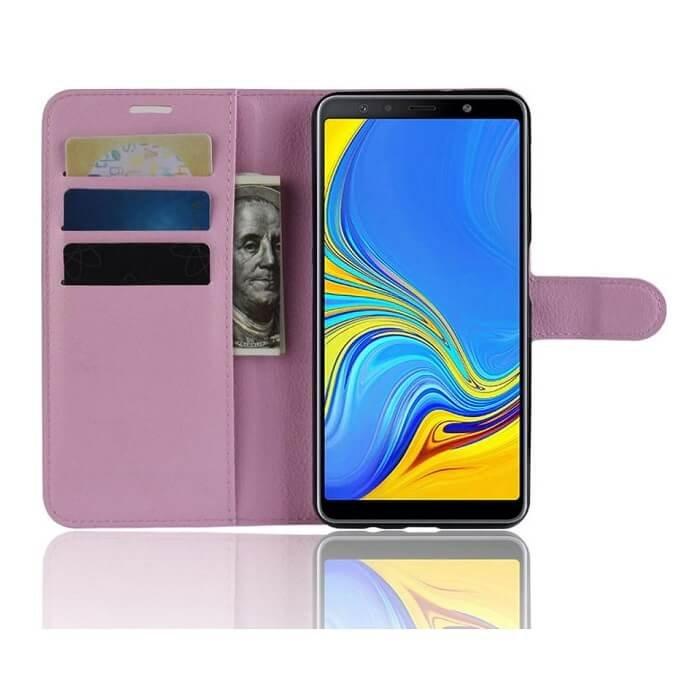 Funda Libro Samsung Galaxy A7 2018 Soporte Rosa.