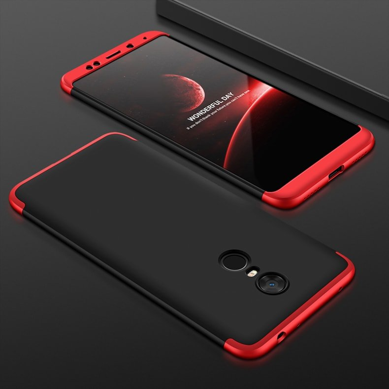 Funda 360 Xiaomi Redmi 5 Plus negro y roja
